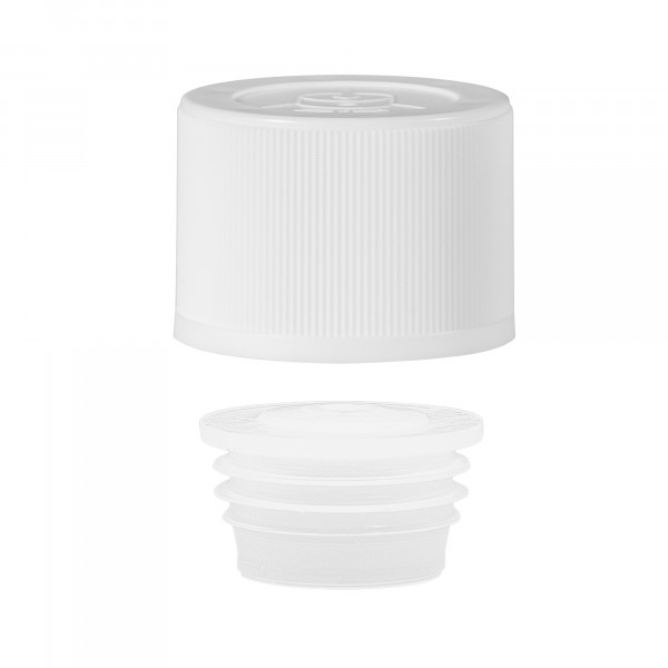 Childproof screwcap PP + insert white 24.410