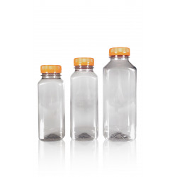 100% Recycled Juice Square R-PET bottles