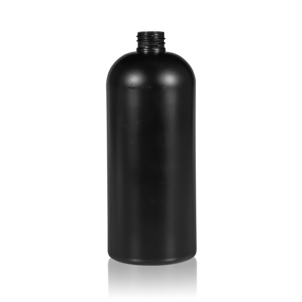 1000 ml bottle Basic Round HDPE black 28.410